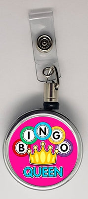 Bingo Queen Metal ID Retractable Badge Reel - Something Sweet Party Favors LLC