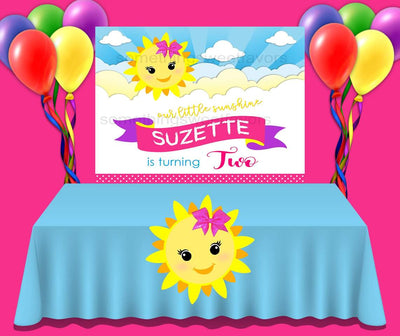 My Little Sunshine Birthday Backdrop - FREE SHIPPING - Something Sweet Party Favors LLC