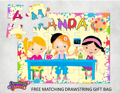 Art Party Kids Puzzle With FREE Matching Bag - Something Sweet Party Favors LLC