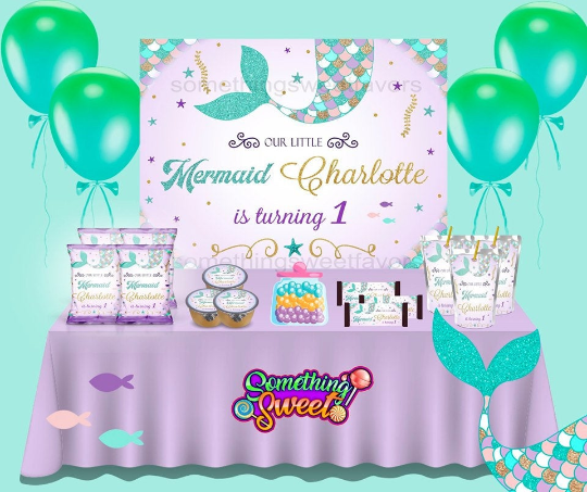 Mermaid Theme Backdrop - FREE SHIPPING - Something Sweet Party Favors LLC
