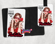 Personalized Passport Cover and Luggage Tag (Brown Hair) - Something Sweet Party Favors LLC