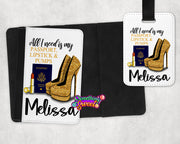 Passport, Lipstick & Gold Pumps Personalized Passport Cover and Luggage Tag - Something Sweet Party Favors LLC
