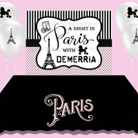 A Night In Paris Birthday Backdrop - FREE SHIPPING - Something Sweet Party Favors LLC