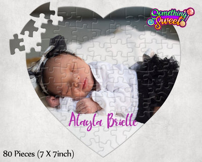 Custom Heart Photo Puzzle With FREE Matching Drawstring Gift Bag - Something Sweet Party Favors LLC