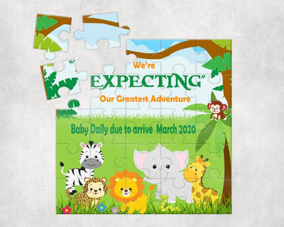 Jungle Themed Pregnancy Announcement Puzzle - Something Sweet Party Favors LLC