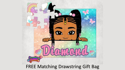 Little Girl With Braids Kids Puzzle With FREE Matching Bag - Something Sweet Party Favors LLC