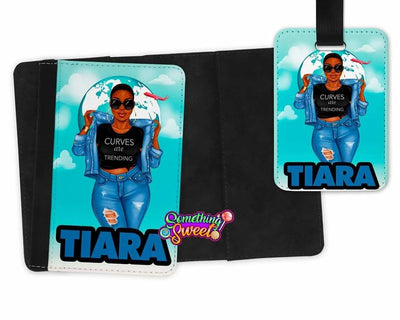 Personalized Passport Cover and Luggage Tag (Curves Are Trending) - Something Sweet Party Favors LLC