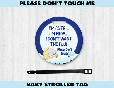 Baby Stroller Germ Tag (Elephant Clouds) - Something Sweet Party Favors LLC