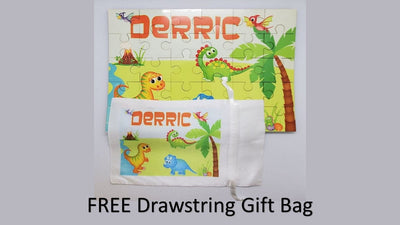 Dinosaur Personalized Kids Puzzle With FREE Matching Drawstring Gift Bag - Something Sweet Party Favors LLC