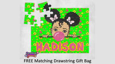 Little Girl With Daisies Kids Puzzle With FREE Matching Bag - Something Sweet Party Favors LLC