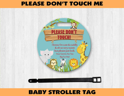 Safari Themed Baby Stroller Germ Tag - Something Sweet Party Favors LLC