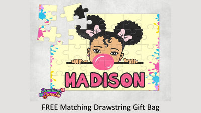 Little Girl With Gum Kids Puzzle With FREE Matching Bag - Something Sweet Party Favors LLC