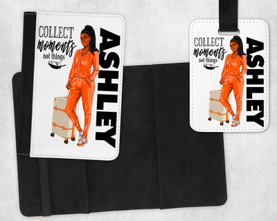Personalized Passport Cover and Luggage Tag (Girl in Sweats) - Something Sweet Party Favors LLC