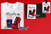 Passport, Lipstick & Red Pumps Personalized Passport Cover and Luggage Tag - Something Sweet Party Favors LLC