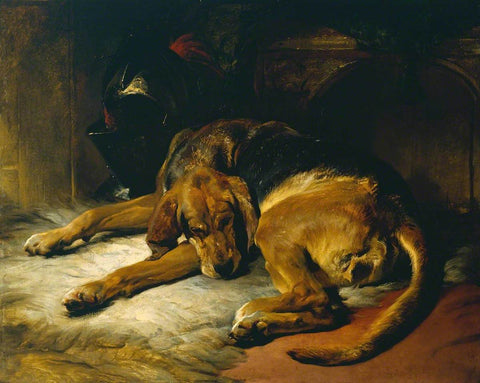 painting of a sleeping bloodhound