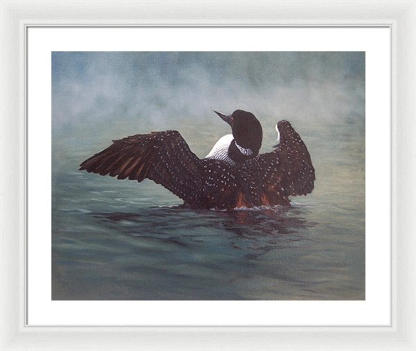 Misty Morning - Framed Print from an Original Loon Painting