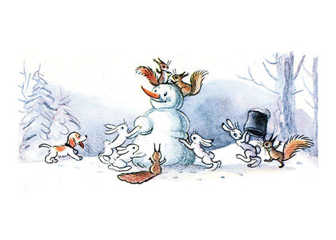 Animals Building a Snowman Greeting Card