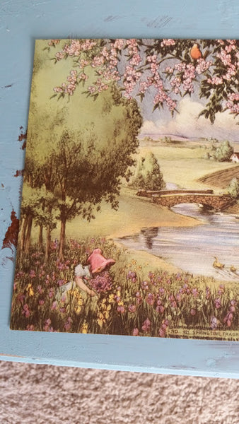Vintage Book Image Girl in Meadow