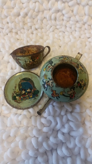 Disney Toy Tin Saucer Plate and Tea Pot As Found