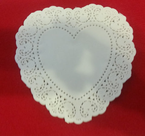 "6"" Heart Shaped Lace Paper Doilie's"