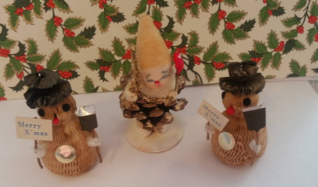 Three Vintage Honeycomb and Pine Cone Christmas Decorations, Ornaments