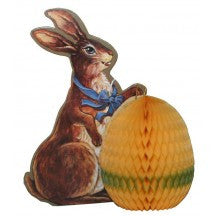 Vintage Dapper Bunny With Honeycomb Egg Decoration