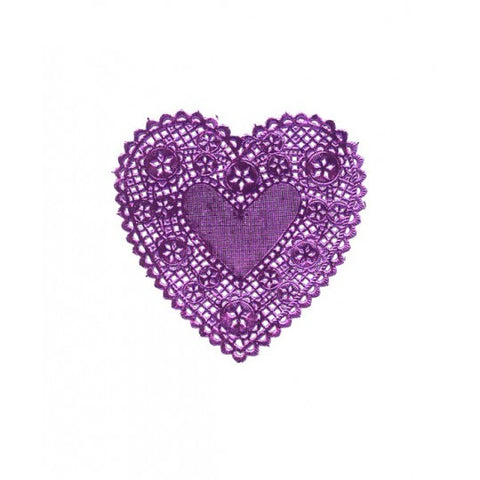 "4 Purple Foil Heart Doilies ~ 4"" or 6"""