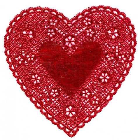 4 Classic Red Foil Heart Doilies ~ 6""