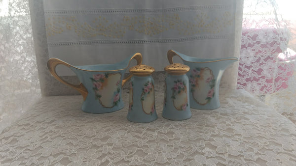 Victorian Bavarian China Salt and Pepper, Creamer and Sugar Bowl