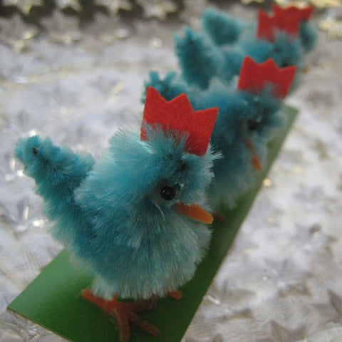 4 Vintage Chenille Easter Chicks ~ Old Store Stock