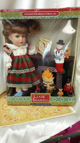 Vintage Porcelain Doll with Christmas Scene