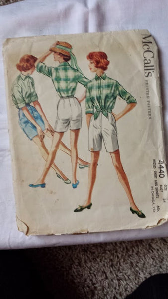 Vintage McCalls Shorts and Shirt Pattern