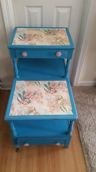Blue Painted Vintage Side Table