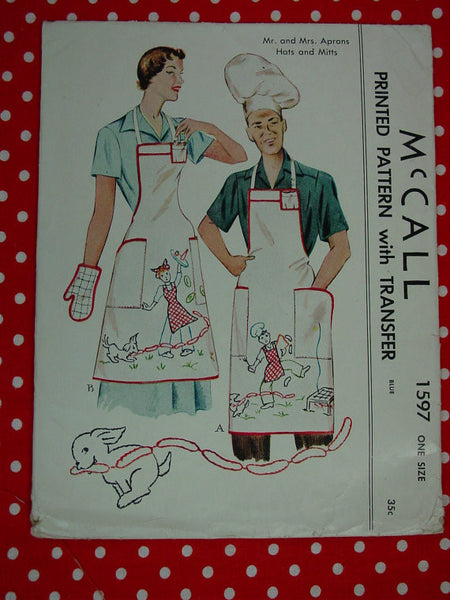 McCalls 1597 Mr and Mrs Aprons Hats and Mitts Pattern