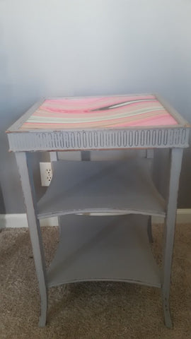 Lovely Vintage Painted Gray Side Table with Pink and Gray Swirled Paper Top
