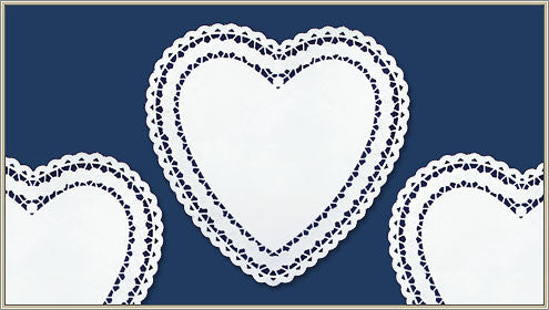 "10"" Heart Paper Doilies ~ Rosy Design in White"