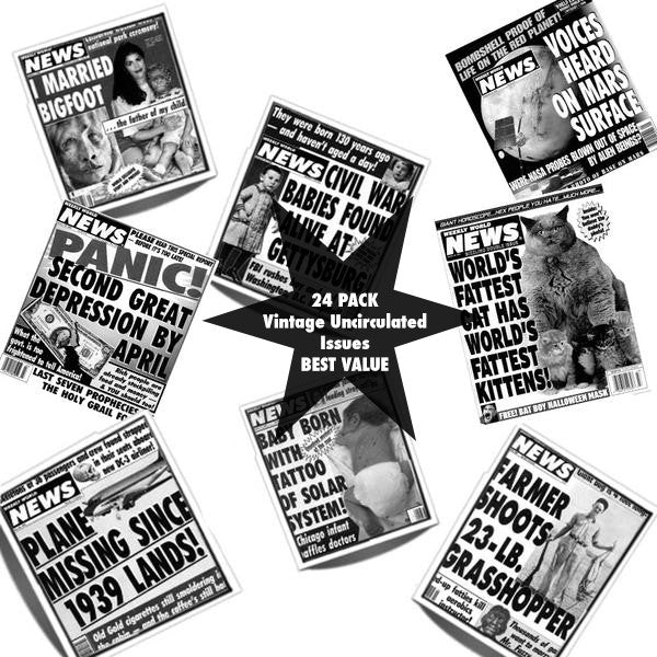 Super Platinum Bundle(Best Value - FREE BAT BOY BOBBLEHEAD w/order through 12/15) - Vintage Issue Bundle of the Weekly World News - 24 Pack