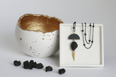 Tektite Bead and Brass Necklace