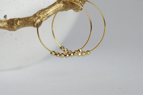 Brass Bead Hoop Earrings - Kaiko Studio