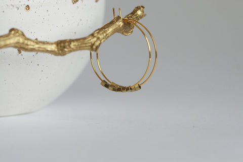 Brass Bead Hoop Earrings