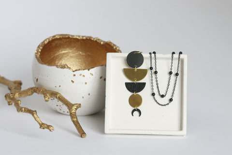 Lunar Brass Statement Necklace - Kaiko Studio
