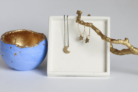 Delicate Moon Necklace  and Star Earrings - Kaiko Studio