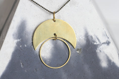 Geometric Brass Moon Necklaces