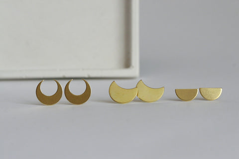 Moon Earrings | Studs - Kaiko Studio