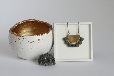 Concrete and Brass Statement Necklace - Kaiko Studio