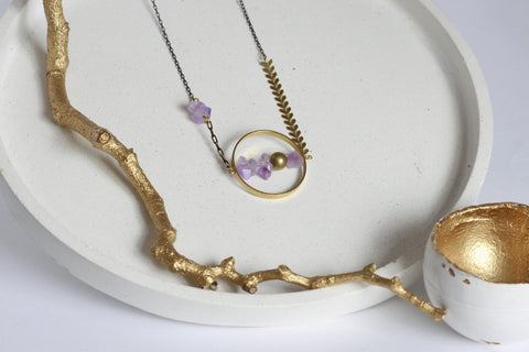 Natural Amethyst Crystal Necklace - Kaiko Studio