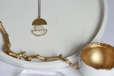Clear Quartz and Brass Moon Necklace - Kaiko Studio