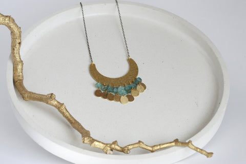 Apatite Crystal and Textured Brass Statement Necklace - Kaiko Studio