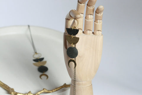Moon and Lava Necklace | Aromatherapy Jewellery - Kaiko Studio