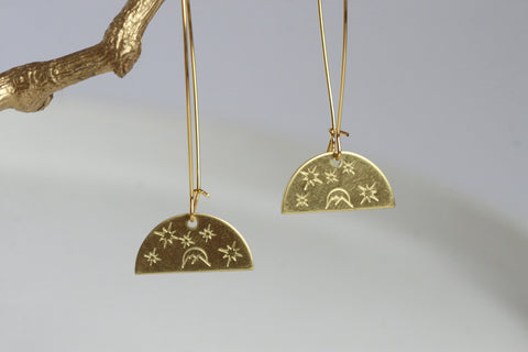 Brass Moon Earrings - Kaiko Studio